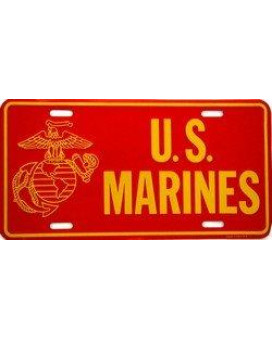 U S Marines Metal License Plate
