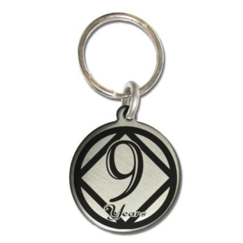 9 Year NA Narcotics Anonymous Sobriety Anniversary Medallion Keychain for Clean Birthday NA Officically Licensed