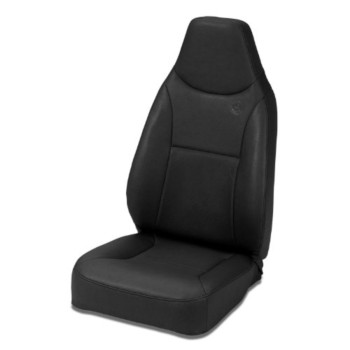 Bestop 39436-15 TrailMax II Black Denim Front High Back All-Vinyl Fixed Single Jeep Seat for 76-06 Jeep CJ and Wrangler