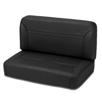 Bestop 39437-15 TrailMax II Black Denim All-Vinyl Fixed Rear Bench Seat for 55-95 CJ5, CJ7 and Wrangler YJ
