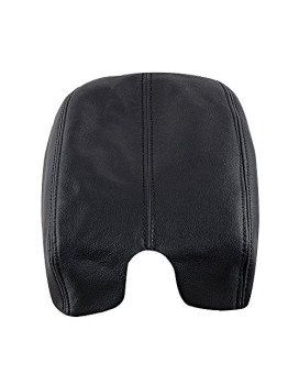 Real Genuine Leather Console Lid Armrest Arm Rest Cover Upholstery For 2008-2012 08-12 Honda Accord (Black)