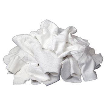 Buffalo Industries (10484PB) White Recycled Sweatshirt Cloth Rags - 25 lb. bag