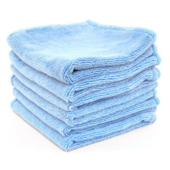 Super Soft Deluxe Blue Microfiber Towels with Rolled Edges, 6 Pack