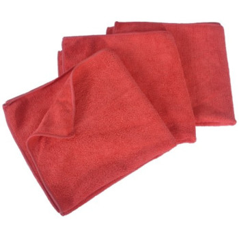 Eurow Microfiber 16 x 16in 300 GSM Cleaning Towels 3-Pack Red