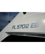 Boat & Jetski Registration Numbers - Domed/raised Decal (16 Pcs) Plain Chrome / SURF Series Font Style