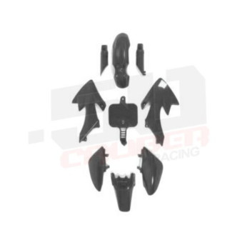 50 Caliber Racing Black Plastics Kit for Honda Crf50 and Xr50 Motorcycle