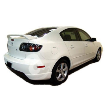 03-09 Mazda 3 4dr Factory Style Spoiler - Painted or Primed : 34K Crystal White Pearl