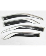 4 Door Sill Windshield Visor Air Guard Rain Weather Vent Trim Deflector for Toyota Fortuner 2012