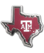 Texas A&M Aggies Texas Shaped Color Chrome Metal Auto Emblem