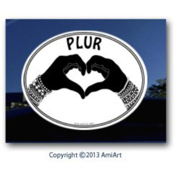 PLUR Decal - PEACE-LOVE-UNITY-RESPECT - I Love Rave- EDM- Bumper Sticker Decal.