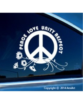 PLUR Decal - PEACE-LOVE-UNITY-RESPECT -Daisy- I Love Rave- EDM- Bumper Sticker Decal.
