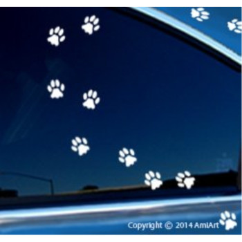 Cat PAW Prints stickers decals -Little Cat Foot Prints-18 paw prints per sheet- pet bumper window sticker for cars trucks wall laptop WHITE