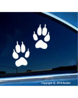 Wolf PAW Print sticker decal -Actual size of Wolf front paw Foot Prints-2 paw prints- Wolf dog bumper window sticker for cars trucks wall laptop WHITE