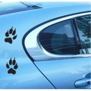 Wolf PAW Print sticker decal -Actual size of Wolf front paw Foot Prints-2 paw prints- Wolf dog bumper window sticker for cars trucks wall laptop BLACK