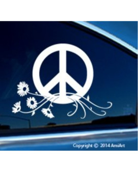 PEACE Sign Symbol Car Window Sticker Decal-LARGE Peace Flower Power Daisy sticker laptop walls