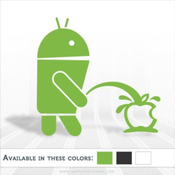Android pissing on apple funny die cut vinyl decal / sticker