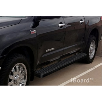 "Matte Black 5"" iBoard Running Boards 07-15 Toyota Tundra CrewMax Cab"