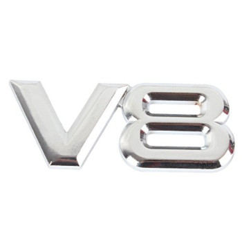 Car Metal Silver V8 Logo 3D Decal Badge Emblem Sticker Auto Number Stickers, Silver