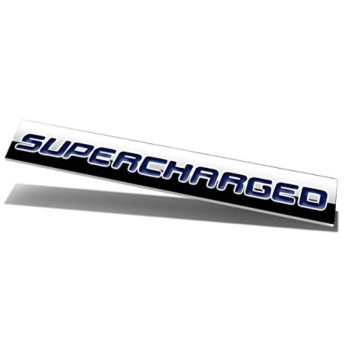 Chrome Finish Metal Emblem Supercharged Badge (Blue Letter)