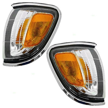 Driver and Passenger Park Signal Corner Marker Lights with Chrome Trim Replacement for Toyota Pickup Truck 8162004080 8161004080