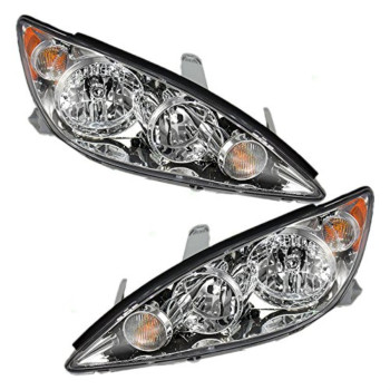 Driver and Passenger Headlights Headlamps with Chrome Trim Replacement for Toyota 8115006180 8111006180
