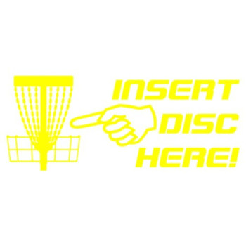 Insert Disc Here! Decal with Pointing Finger and Basket detail - Yellow