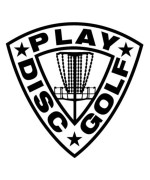 Play Disc Golf Shield Decal with Mach 3 Basket Detail - Black