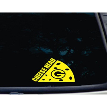"""Cheese Head - 6 3/4"""" x 3 3/4"""" die cut vinyl decal for windows, cars, trucks, tool boxes, laptops, MacBook - virtually any hard, smooth surface"""