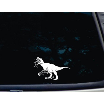 """T-Rex eating Stick Figure Family - 6"""" x 3 3/4"""" die cut vinyl decal for windows, cars, trucks, tool boxes, laptops, MacBook virtually any hard, smooth surface. NOT PRINTED!"""