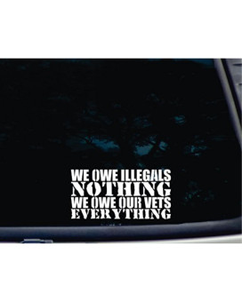 """We owe Illegals NOTHING We owe our Vets EVERYTHING - 7"""" x 3 1/2"""" die cut vinyl decal for windows, cars, trucks, tool boxes, virtually any hard, smooth surface"""