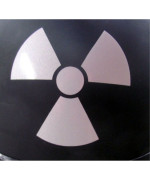 """Reflective Radioactive Symbol - 3"""" x 2 3/4"""" die cut vinyl decal for helmets, windows, cars, trucks, tool boxes, laptops, MacBook - virtually any hard, smooth surface"""