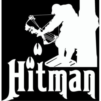 """6"""" hitman bow hunting deer hunter Die Cut decal sticker for any smooth surface such as windows bumpers laptops or any smooth surface."""