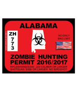 Alabama Zombie Hunting Permit(Bumper Sticker)