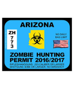 Arizona Zombie Hunting Permit(Bumper Sticker)