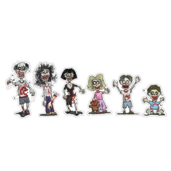 Zombie Family Cut Outs - Complete Set (Bumper Stickers)