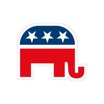 GOP Elephant - Red/Blue/White (Bumper Sticker)