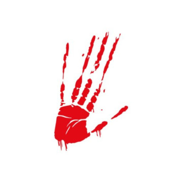 Bloody Hand Print Smear (Red Vinyl Cut Out - Bumper Sticker)