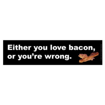Either you love bacon or you're wrong. (Bumper Sticker)