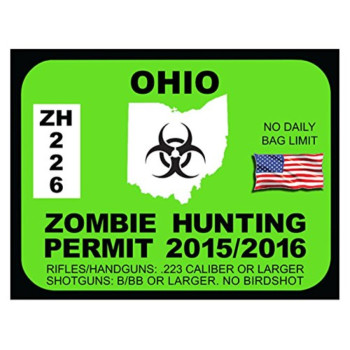 OHIO Zombie Hunting Permit(Bumper Sticker)