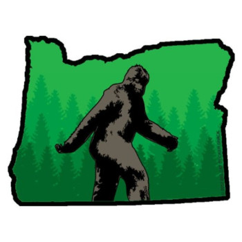 Oregon State Shape with Bigfoot (Bumper Sticker)