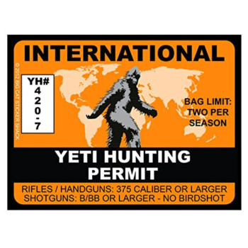 Yeti Hunting Permit - INTERNATIONAL (Bumper Sticker)