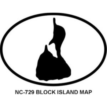Block Island Map Oval Bumper Sticker