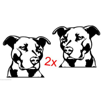 2 Pitbull PIT Bull White Vinyl Decal Stickers for CAR Truck SUV Dog JDM 4x4 MMA Laptop
