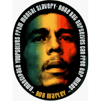 Bob Marley - Emancipate Yourself From Mental Slavery Oval Sticker / Decal with Tri-Color Face