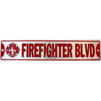 Firefighter Blvd - Fun Novelty Wall Decor Sign Color Silver Red 5 inch x 24 inch