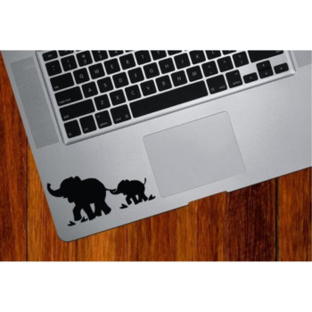 Elephant Mom and Baby Trackpad / Keyboard - Vinyl Decal (Black) Macbook Laptop By Boston Deals USA