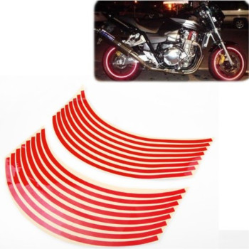 8mm Red Reflective Rim Tape Wheel Stripe Decal Trim For Motorcycle Car 16