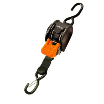 CargoBuckle F111640 Mini G3 Retractable Ratchet Tie-Down with Dual S-Hooks, 2-Pack