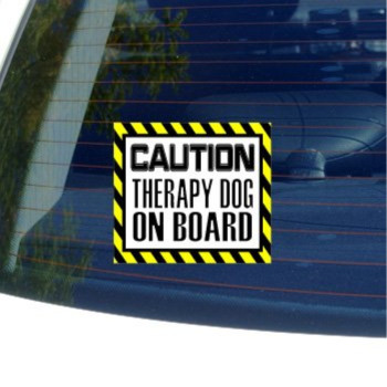 Caution Therapy Dog on Board - Window Bumper Laptop Sticker
