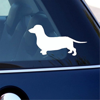 Daschund Dog White Vinyl Car Sticker Symbol Silhouette Keypad Track Pad Decal Laptop Skin Ipad Macbook Window Truck Motorcycle